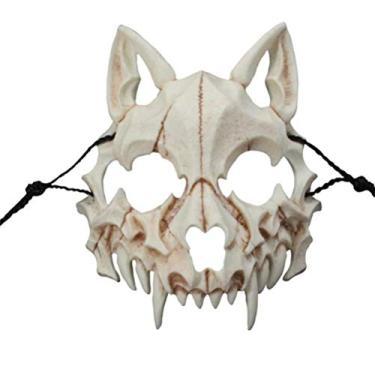 Imagem de Máscara de Halloween Cogihome Japonesa de dragão Deus Lobisomem Cosplay Animal Esqueleto Máscara Unissex de Festa de Resina