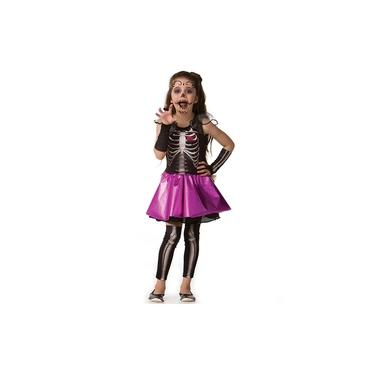 Fantasia de Halloween Infantil Feminina Esqueletinha Caveira Com Luva e Meia Calça