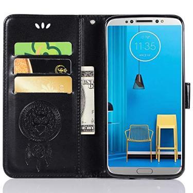 Capa de couro para Moto G6, capa carteira para Moto G6, capa flip floral em couro PU com suporte para cartão de crédito para Motorola Moto G6 de 5,7 polegadas