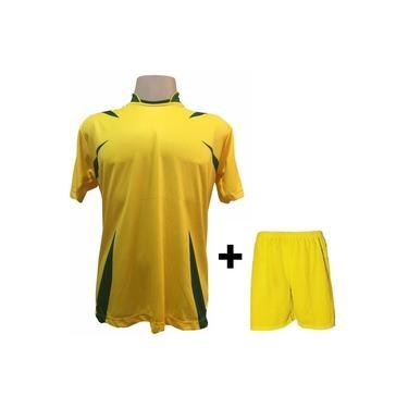 Uniforme Esportivo com 14 camisas modelo Palermo Amarelo/Verde + 14 calções modelo Madrid Amarelo +