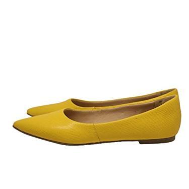 Sapatilha Feminina Bico Fino Em Couro Salto Baixo Amarelo