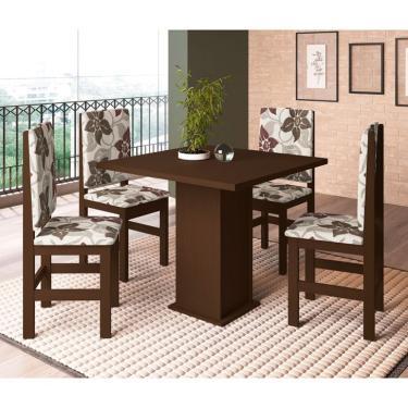 Imagem de Conjunto de Mesa com 4 Cadeiras Sirius Tabaco e Floral