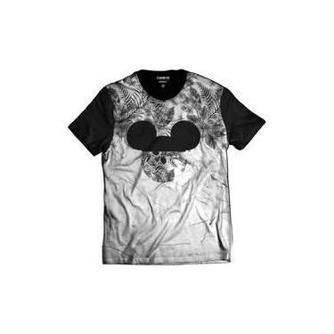 559137470a Camiseta Floral Caveira Mickey Mouse Street Wear Branca e Preta