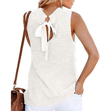 Túnica feminina de verão, sem mangas, blusa, blusa, regata, fecho nas costas, casual, de crochê, Branco, S