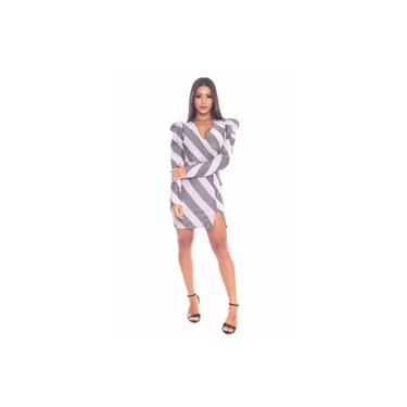 Vestido Miss Misses Tubinho de Lurex Listrado Lilás
