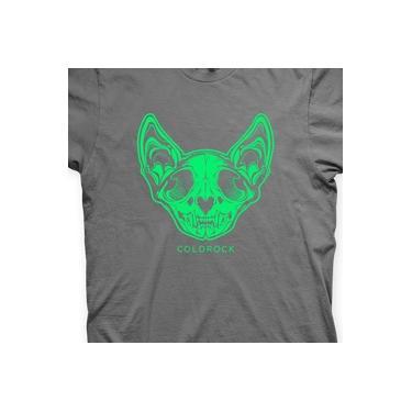 Camiseta Gatinho Caveira Chumbo e Verde em Silk 100% Algodão
