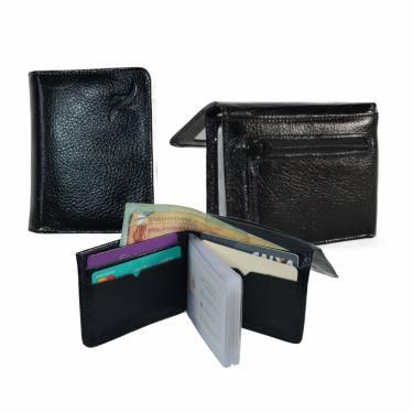 Carteira Masculina Couro Legítimo Slim Porta Cartão CNH Moedas Preta nz001