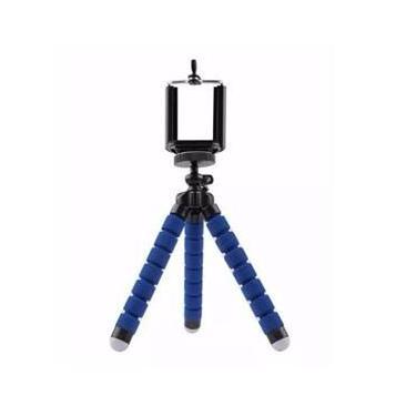 Mini tripe flexivel azul para celular e camera