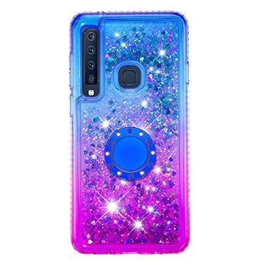 SHUNDA Capa para Samsung Galaxy A9 (2018), Capa Flutuante Líquido Cor Gradiente [Suporte de Anel] Capa Bling Glitter Sparkle - Azul Roxo