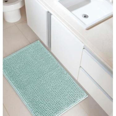Imagem de Tapete Banheiro Antiderrapante Bolinha Microfibra Corttex Verde Claro