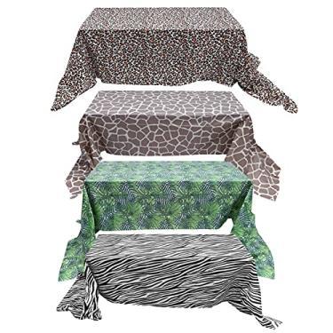 Imagem de NUOBESTY Toalha de mesa descartável, 4 peças, planta, estampa de leopardo, zebra, cervo, capa de mesa para festa de animais selva antiderrapante, suprimentos de mesa 274 x 137 cm