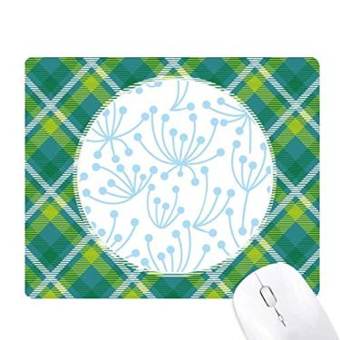 Mouse pad de pixel de grade de malha verde para plantas de flor azul