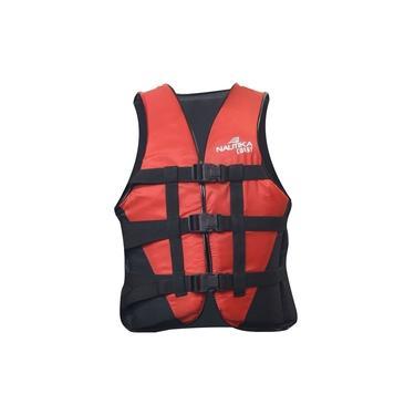 Colete Salva Vidas com Trava Lock Coast 130kg Vermelho e Preto Nautika