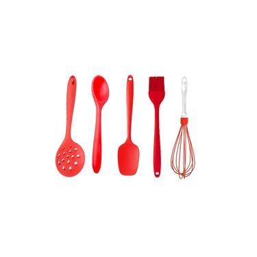 Kit Colher Espátula Pincel 5 Utensílios de Silicone Vermelho