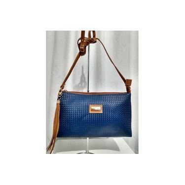 Bolsa Azul Marinho Com Caramelo