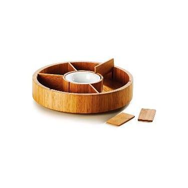 Imagem de Petisqueira Giratória em Bambu/Cerâmica Atlanta 7divisórias 31 cm - Welf