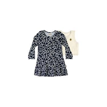 Vestido Infantil Inverno Marinho Coração Elian