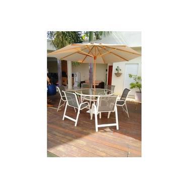 Imagem de Jogo de Mesa com tampo de vidro + Ombrelone Guarda Sol com 6 cadeiras de piscina