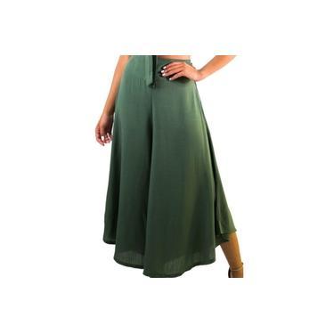 Calça Feminina Pantalona Verde Estilo Social Executiva Roupa Linda