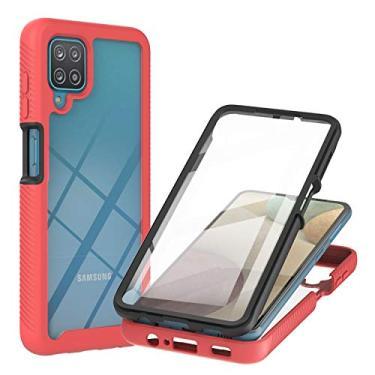 IVY Galaxy A12 3in1 Braço pesado Rugido Capa Case with Built-in Filme de protecção do ecrã para Samsung Galaxy A12 Capa Case - Red