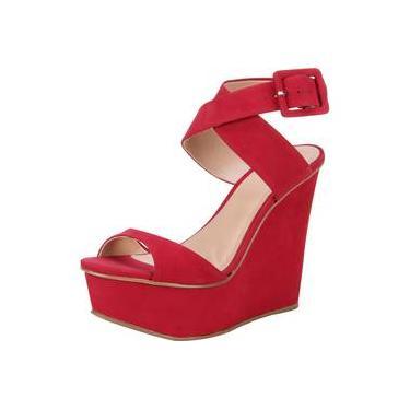 Sandália Anabela My Shoes Couro Onça