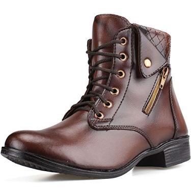 Bota Coturno Cano Curto Sapatofranca De Amarrar Ankle Boot Tamanho:34;Cor:Marrom