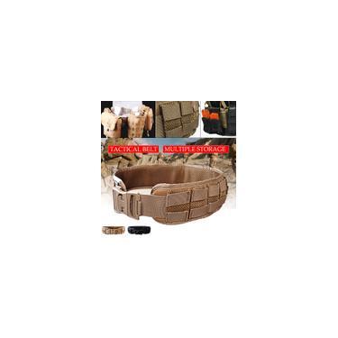 Cinto tático preto / bronzeado respirável masculino Ventilador do exército Cinto tático multicolor ao ar livre Cinto de treinamento tático Molle Cinto militar acolchoado ajustável Combat Battle Hunting Strap