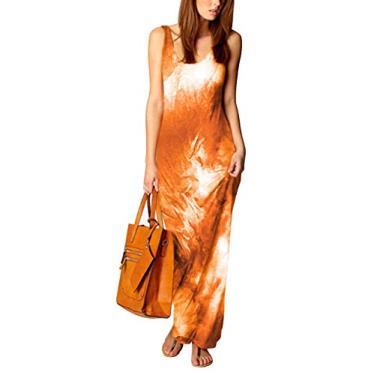 Vestido feminino tie dye, manga curta, casual, solto, vestido de dia plus size, Laranja, M