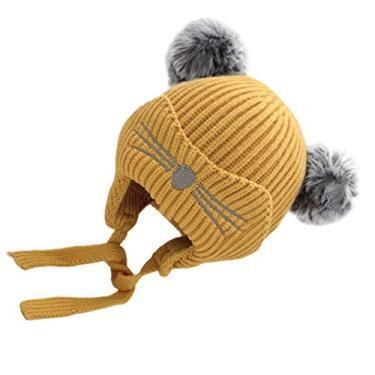 ABOOFAN Gorro de Malha Infantil Com Aba de Orelha Quente Chapéu Gorro de Inverno de Malha Engrossado Gorro de Malha Quente para Crianças Bebês Meninos Meninas (Amarelo)