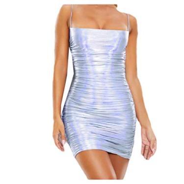 Abetteric – Vestido feminino sexy estilo boate metálico com alça líquida, Prata, X-Small