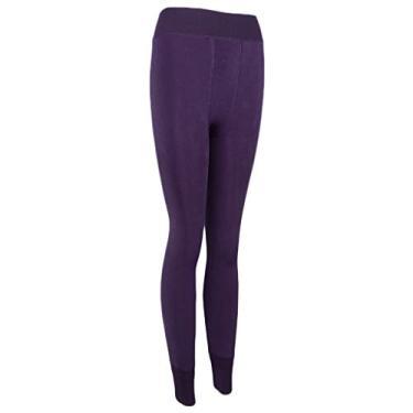 DYNWAVE Calças Femininas de Inverno Quente com Forro de Lã Calças Leggings Elásticas de Cintura - Roxo escuro