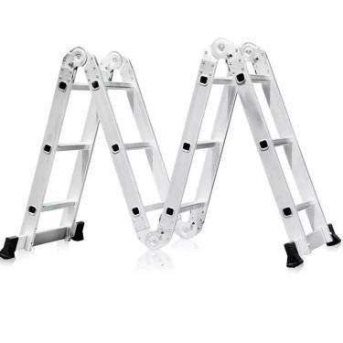 Escada Articulada Multifuncional 4 X 3 Em Alumínio 12 Degraus