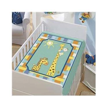 Cobertor Infantil Jolitex Raschel Girafinhas Azul Masculino
