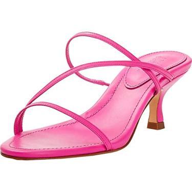 SCHUTZ Sapato feminino de couro sem cadarço, Rosa neon, 8