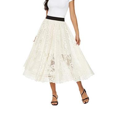 Saias longas femininas cintura alta elástica evasê saia floral midi, Bege, Small