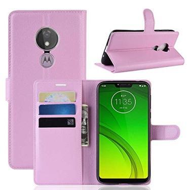 Capa Capinha Carteira Case 360 Para Motorola Moto G7 Power Com Tela De 6.2 Couro Sintético Flip Wallet Para Cartão - Danet (Rosa)