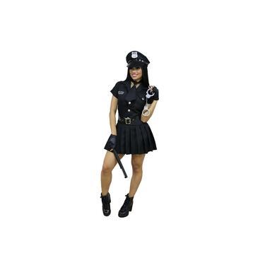 Imagem de Fantasia Feminina Policial Completa (Quepe (Chapéu) + Vestido + Gravata + Cinto + Luvas + Bastão + Algemas de Metal