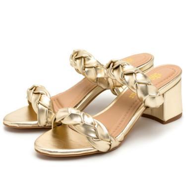 Sandália Salto Grosso Médio Em Metalizado Dourado  feminino