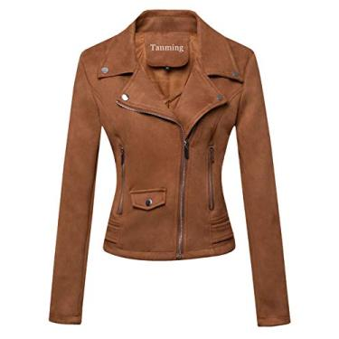Tanming Jaqueta feminina curta de couro sintético para motociclista, Suede-brown, Medium