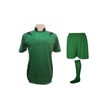 Uniforme Esportivo Completo modelo Palermo 14+1 (14 camisas Verde/Preto + 14 calções Madrid Verde + 14 pares de meiões Verdes + 1 conjunto de goleiro) +