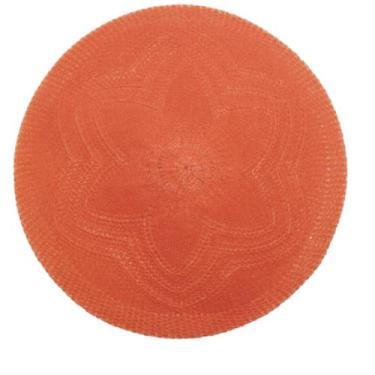 Jogo 6un  Lugar Americano Croche Flor Vermelho d.38cm Mimo Style