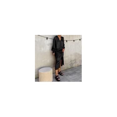 Moda feminina elegante vestido maxi lanterna de seda manga longa decote em V festa casual solto vestido de camisa longa plus size Preto 5XL