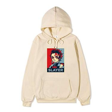 Novo moletom com capuz caçador de demônios Tanjiro Nezuko Cosplay suéter moletom com capuz anime para homens e mulheres, Caqui, XXL