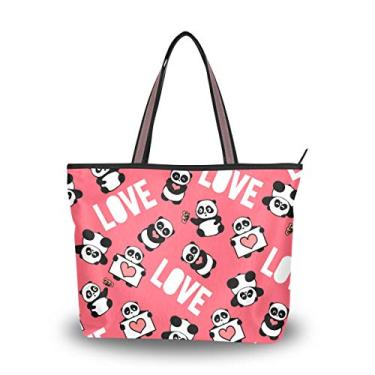 Bolsa feminina com alça superior Pandas Full Of Love, bolsa de ombro para mulheres, Multicolorido., Large
