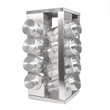 Imagem de Porta Tempero Condimento Quadrado Inox 16 Potes Giratório