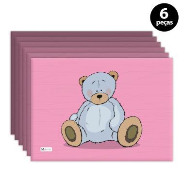 Imagem de Jogo Americano Mdecore Urso Rosa 6pçs