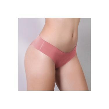 Calcinha Tanga Sem Costura Corte A Laser Microfibra Rosa Coral