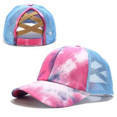 Beerty Boné de beisebol feminino, colorido tie-dye boné de beisebol rabo de cavalo cruzado nas costas, chapéu de sol com fecho traseiro, Azul claro, 56-60cm(22.05-23.62in)