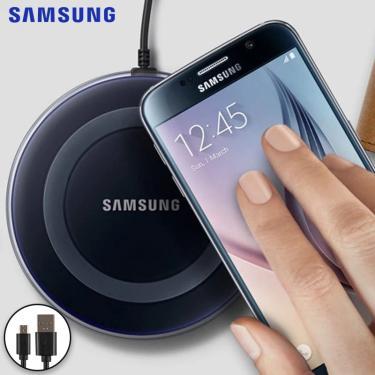 Carregador sem fio original 2a qi, carregador para samsung galaxy s6 s7 s8 s9 plus note 9 8 e iphone