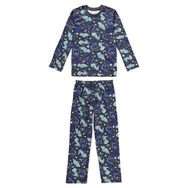 Pijama Manga Longa Juvenil Menino Malwee Liberta Dino Ref. 077440 Cor:Cinza Chumbo;Tamanho:16